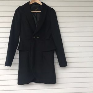 Black Ruffle Pea Coat